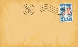 Envelope with Stamp and Rubber Stamp vector