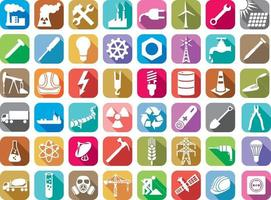 Industry and Energy Flat Icons Collection vector