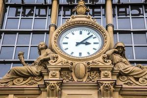 Ancient Big Clock in Frankfurt Metro Main Station Building photo