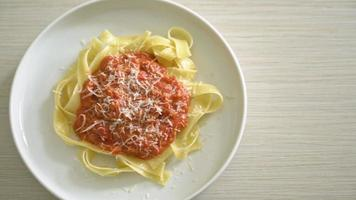Pork Bolognese Fettuccine Pasta with Parmesan Cheese video
