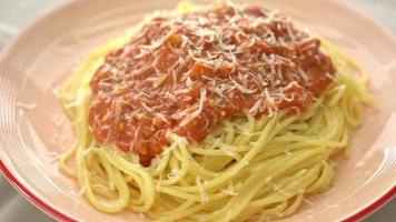 Pork Bolognese Spaghetti Pasta with Parmesan Cheese video