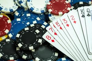Gambling Poker Cards and Money Coins photo
