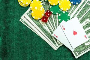 Gambling Poker Cards Chips and Dices Concept photo