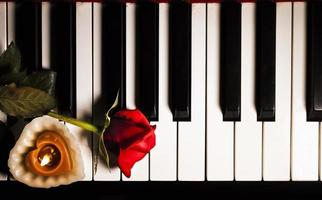 Red Flower Rose on Piano Keys Romantic photo
