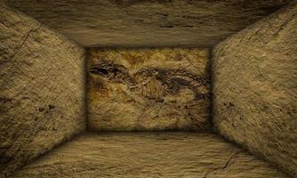 Interior urbano abstracto fósil prehistórico en las paredes del escenario foto