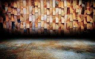 Abstract Urban interior wooden wall stage photo