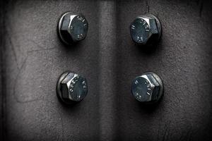 Grupo de concepto industrial de tornillo metálico foto