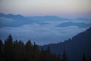 Among the Fog Mountain View, Sunset, Rize, Turkey photo