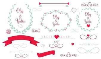 conjunto de elementos gráficos de boda vector