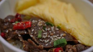 Gyutan Don is a Japanese food made from beef tongue photo