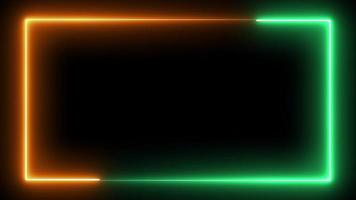 Looping Seamless Neon Frame in green and orange video