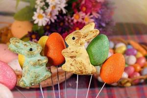 conejo y huevos de pascua pascual foto