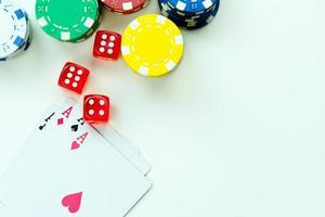 Gambling Cards Red Dices and Money Chips photo