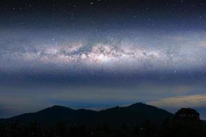 Milky way night landscape light over silhouette mountain photo