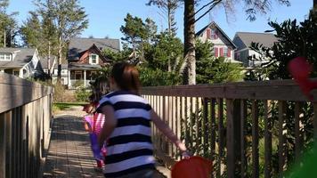 Kids walking across footbridge video