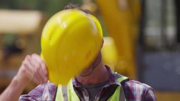 Portrait of construction worker video