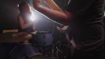 Guitar and Drums in heavy metal rock band video