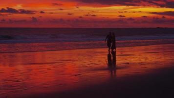 coppia che cammina sulla spiaggia al tramonto, costa rica. video