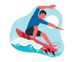 hombre disfruta de la actividad al aire libre con tabla de surf. vector