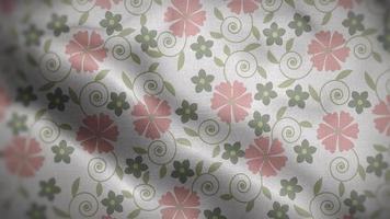 Light Pink Floral Patterns Over White Flag Background video