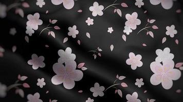 Light Pink Floral Patterns Over Black Flag Background video