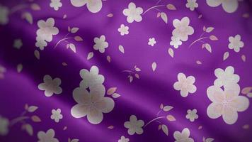Light Pink Floral Patterns Over Purple Flag Background video