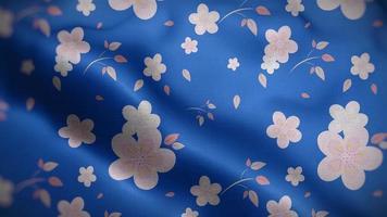 Light Pink Floral Patterns Over Blue Flag Background video