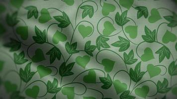 Green Floral Patterns Over White Flag Background video