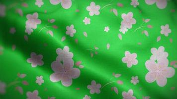 White Floral Patterns Over a Neon Green Flag Background video