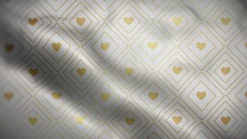 Golden Hearts in A Diamond Over a White Flag Background video