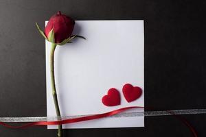 rosa roja con tarjeta blanca. foto