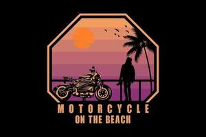 Motorcycle on the beach silhouette design vector