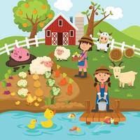 Agricultural production,rural landscape.illustration. vector