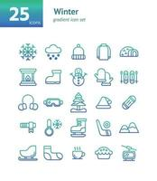 Winter gradient icon set. vector