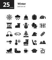 Winter solid icon set. vector