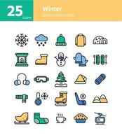 Winter filled outline icon set. vector