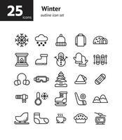 Winter outline icon set. vector