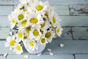 Fresh daisy flowers in white cup on wooden table photo