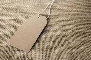 Blank tag on the sackcloth photo