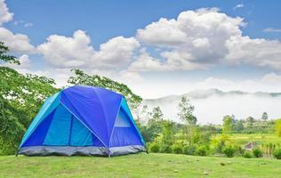 caming tent in garden photo