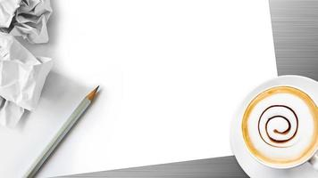 blank white paper with hot coffee photo