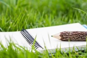 booklet pencil on green grass photo