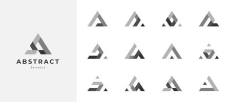 set of abstract triangle grayscale logo design vector