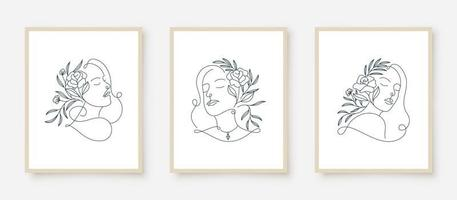 set of woman portraits line art floral frame vector