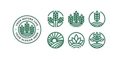 set of green nature logo design vector