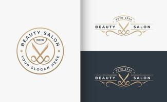 hair beauty salon badge logo design vector
