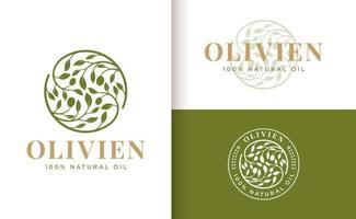olive branch logo design vector