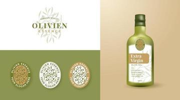 olive oil logo and label design vector
