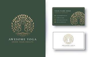 Yoga meditation with abstract tree logo design vector