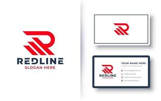 letter R logo monogram design with business card vector